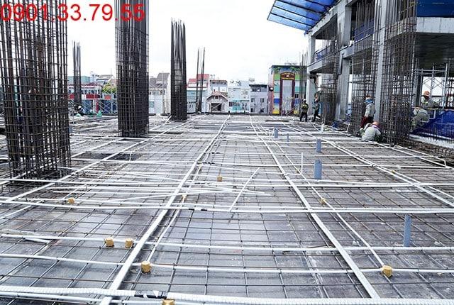 Thi công cốt thép sàn tầng 4 - block Central căn hộ Saigon Mia